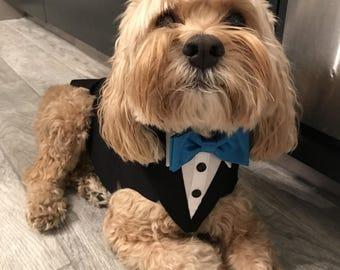 Navy Formal Wedding  Dog Tuxedo , dog suit, custom fit dog tuxedo, hand made , pet clothing , dog clothing , bandana , ring bearer, tie