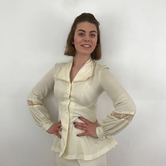 1970s ladies dress long skirt UK 8 trumpet flared sleeves hippy boho festival peplum cream crochet trim 70s petite Richards