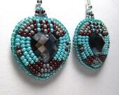 SMOKEY TURQUOISE HEARTS beaded earrings, gem inlay, bead embroidery, raised beadwork, handmade