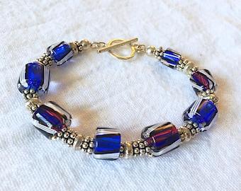 Bali Silver and Cane Glass Bracelet 1
