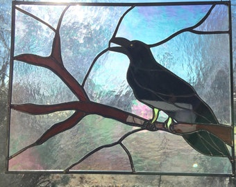 Crow Raven Stained Glass Panel Art