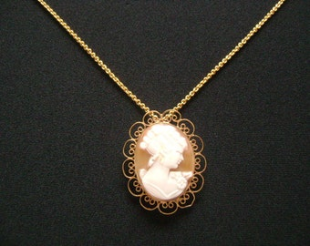 Victorian Jewelry 1/20 12k Gold Filled Filigree Frame Oval Shaped Carved Shell Portrait of a Lady Cameo Combo Brooch Pendant Chain Necklace