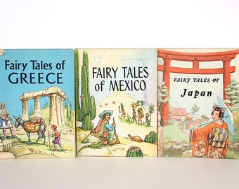 Vintage Fairy Tale Books - Greek Fairy Tales - Japanese Fairy Tales - Mexican Fairy Tales - Illustrated Fairy Tales -International Folktales