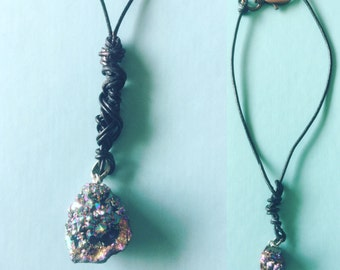 Leather druzy necklace
