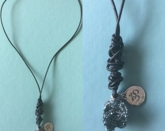 Learher druzy necklace