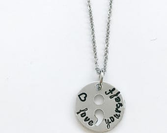 semicolon metal stamped necklace with stainless steel chain strength semi  colon depression inspiration
