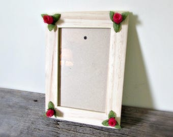 Rose Picture Frame 4x6, Wood Photo Frame, Daisy Home Decor, Rose Wedding Picture Frame, Rose Party Decor, Rose Decoration, Rose Gift