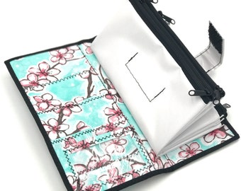 Cute White Floral Oilcloth Envelope System Wallet for Dave Ramsey Cash Budgeting and Extreme Couponing