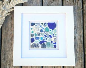 Blue sea treasure frame// Sea glass art
