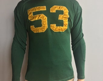 50s Green Sports Football Jersey with Yellow 53 raglan and elbow patch detail