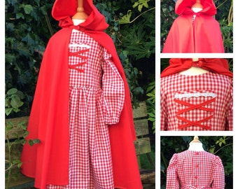Red Riding Hood Style Stage Costume, Dress and Cape Age 6-9
