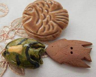 Ceramic Fish and Wood Fish Buttons - 3