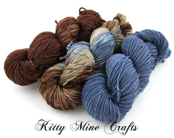 Litter of Knittins Multi-pack Yarn Kit - Shipwrecked Coordinates - 3 skeins of worsted weight yarn - 630 yards total - Blue, White, Brown
