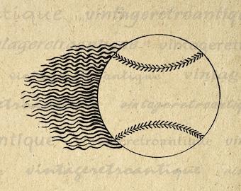Flying Baseball Image Digital Download Soaring Antique Baseball Graphic Baseball Sports Artwork Printable Vintage Clip Art HQ 300dpi No.4646