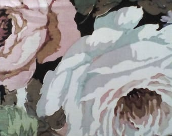 Vintage Sanderson Fabric ~  cotton Cabbage Roses 'Chelsea' floral toile unused. Cottage chic cushion curtain fabric