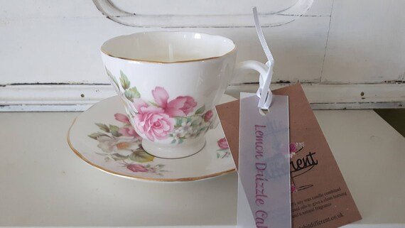 Tea cup candle. Scented soy wax vegan vintage tea cup candle, scented with lemon drizzle cake. Vegan candles. Organic Eco soy. Made in Wales