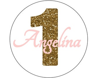 24 Gold ONE Stickers, Personalized Stickers, First Birthday, Gold and Pink, Labels, Envelope Seals, First Birthday Stickers, Gold Glitter