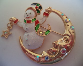 Vintage Unsigned Goldtone/AB Stones  Snowman on the Moon Brooch/Pin