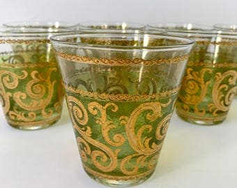 Vintage Set of 8 Green and Gold Culver Old Fashioned Rocks Glasses