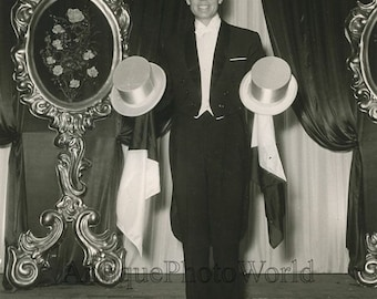 Sino magician with two cylinder hats vintage photo