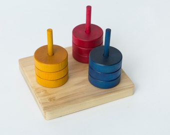 Montessori Primary Color Ring Sorter--Dowel Stacker