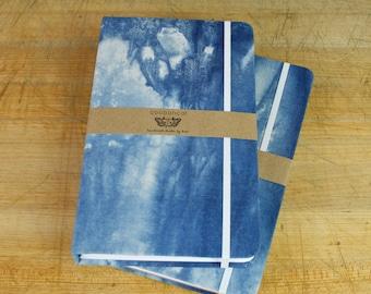 Hand Dyed Indigo Cotton, Sugarcane Paper Sketchbook/Notebook/Journal
