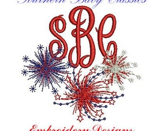 Firework Fireworks Fourth of July Memorial Day Patriotic Monogram Frame On  Design File for Embroidery Machine Monogram Instant Download
