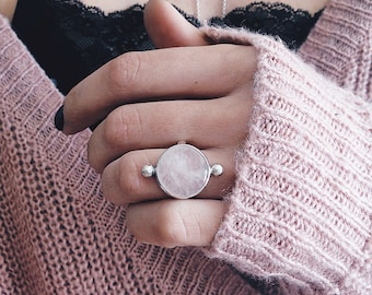 Rose quartz ring Etsy