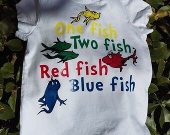 Dr. Seuss One fish two fish red fish blue fish t'shirt