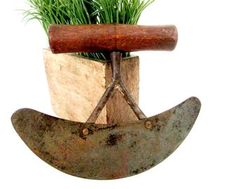 Antique Herb Chopper, Herb Slicer, Large Wooden Handle, Double Bridge, Large Rocking Herb Chopper, Primitive Rustic Kitchen