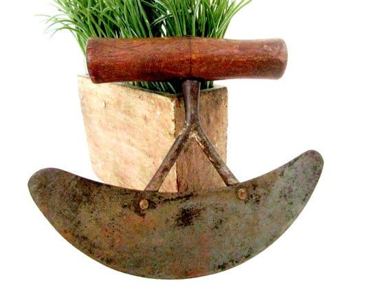 Antique Herb Chopper, Herb Slicer, Large Wooden Handle, Double Bridge, Large Rocking Herb Chopper, Primitive Rustic Kitchen