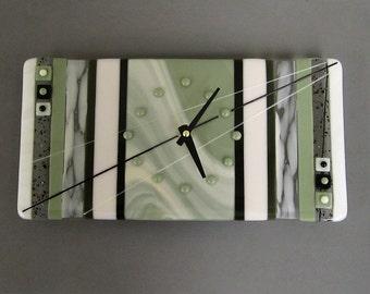 Modern Green Neutrals Fused Glass Clock