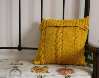 Hand knitted cushion cover - yellow