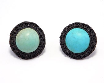 Old Chinese Turquoise Filigree Earrings Leverbacks