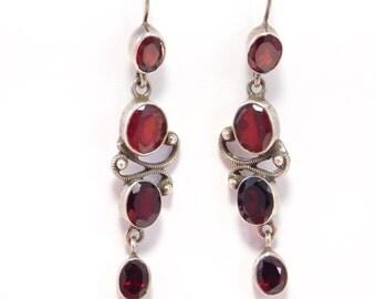 Pretty Sterling Dangling Garnet Earrings