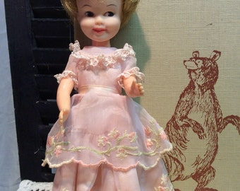 Vintage Penny Brite doll w/Pink Party Dress