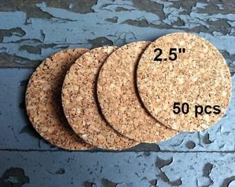 2.5 Inch ROUND Blank Cork Coasters, 50-ct