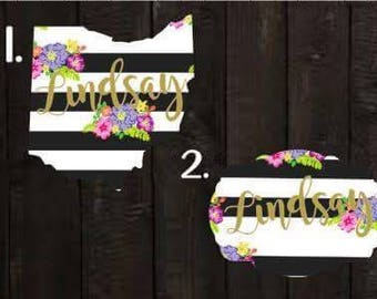 Floral black and white decal