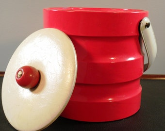 Vintage Mid Century Retro Bright Red Ice Bucket
