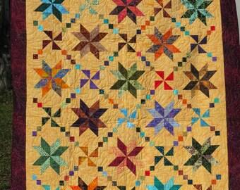 Batik Star Quilt - Lap Quilt - Star and Pinwheel Quilt - Batik Throw Quilt - Couch Quilt - Home Decor
