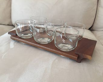 Mid Century Modern Teak Glass holder with six glasses by STC of California Stunning Vintage Bar Set