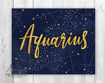 Aquarius Typography Art Print, Aquarius Zodiac Typography, Aquarius Astrology Print, Aquarius Wall Art, Aquarius Astronomy Art