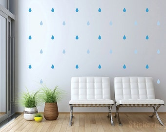 Rain Drops Mini Wall Decals Graphic Vinyl Sticker Bedroom Wall Home Decor