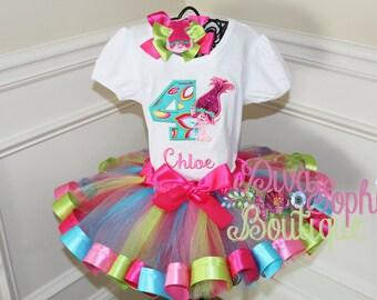 Trolls Tutu Set  - Princess Poppy Ribbon Tutu Set -  Birthday Tutu