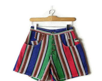 Vintage Colorful Stripe High Waist Denim Shorts from 1980's*