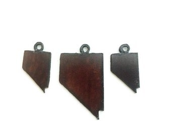 NEVADA Set Pendant Charm Earring Cutout made of  Rustic Rusty Rusted Recycled Metal