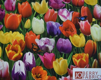Tulips, from Elizabeth Studio.  Quilt or Craft Fabric, Fabric by the Yard