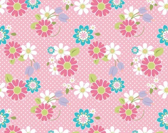 Dream A Wish Pink Floral Fabric Sandra Workman for Riley Blake