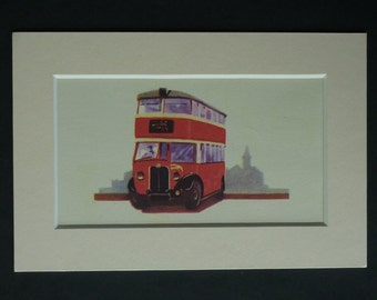 1950s Vintage Red Bus Print, Double Decker Decor, Available Framed, London Art, British Wall Art, Public Transport Illustration Boys Nursery