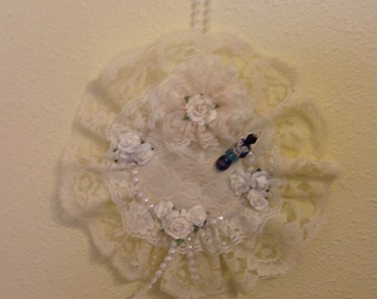 Lovely, Ivory Hanging Shabby Chic Stick Pin Cushion